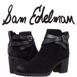 Sam Edelman black suede ankle Hanna Moro boot 7.5